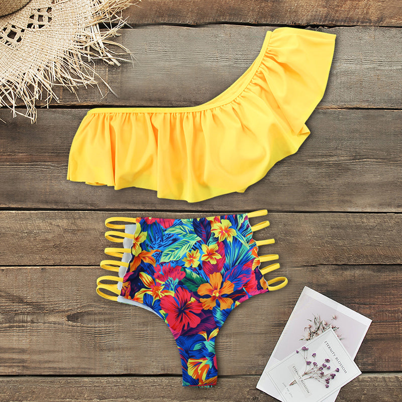 High Waist Swimsuit 2020 Sexy One Shoulder Bikinis Women Swimwear Push Up Bathing Suits Beach Wear Biquini Female