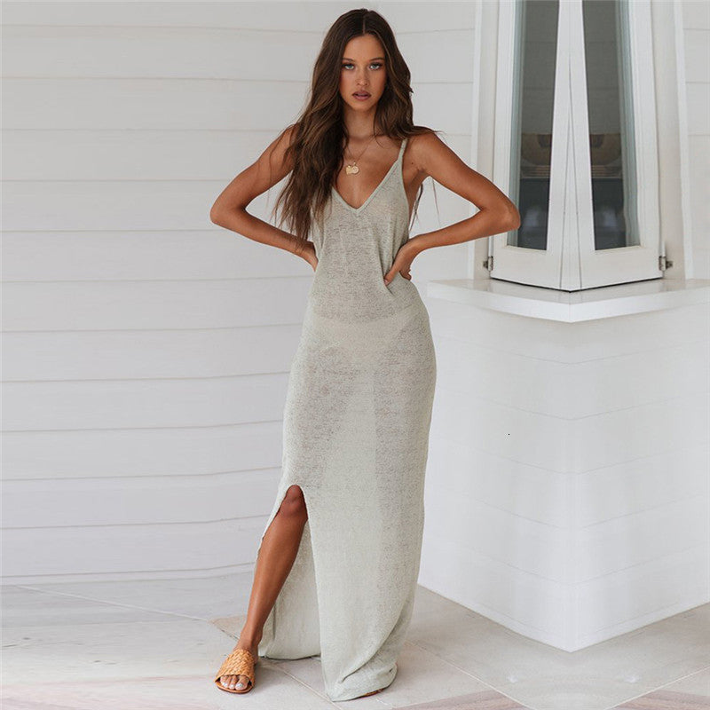 2020 Sexy Swimwear Bikini Cover Up Thin Strap Knitted Women Beach Tunic Dress Long Split Mesh Bikinis Cover-Ups Beach Wear