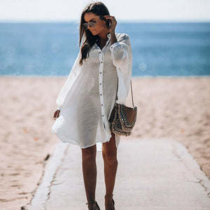 Women Swimsuit Cover Ups Sexy Kaftan Beach Tunic Dress 2020 Summer Robe Plage Solid Cotton Beach Cover Up