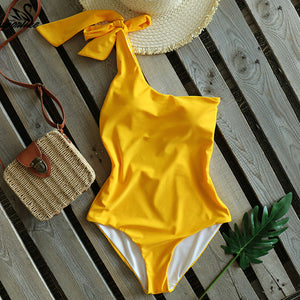 One Piece Swimsuit 2020 Sexy One Shoulder Bandage Swimsuit Women Solid Swimwear Backless Bathing Suit Beachwear