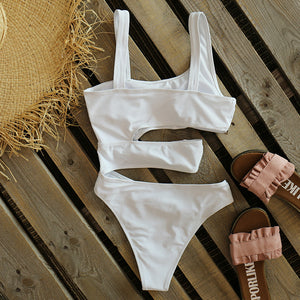 One Piece Swimsuit Sexy Black White Solid Swimwear Women Swimsuit Push Up Bathing Suit Beach Wear Monokini