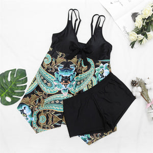 Women's Tankinis Separate Swimwear Bathing Suit with Boyshort Plus Size Torso Retro V Neck Swimsuit Two Piece Slimming Skirt