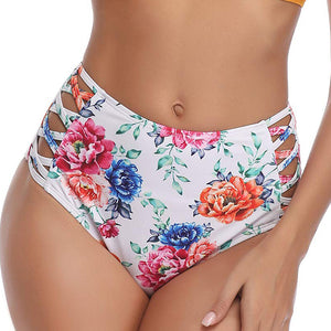 Women Solid Bikini Panties High Waist Swimwear Bottom Hollow Out Bandage Female Swimsuit Briefs Beachwear Bathing