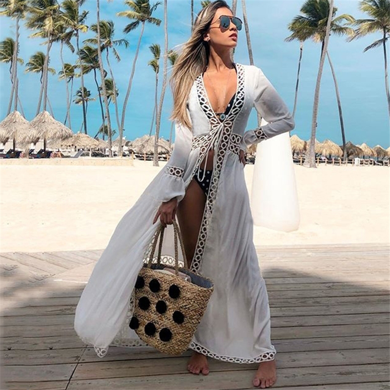 Beach Swimsuit Cover Up Women Tunics Swimwear Long Kaftan Beach Cover-up Beachwear Beach Dress
