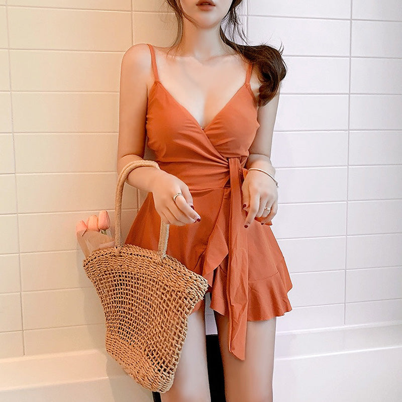 Orange Separate Women's Swimsuit Push Up Swimwear with Skirt Korean Swimdress Two Piece Swimming Suit Pool Solid Beach Tankini