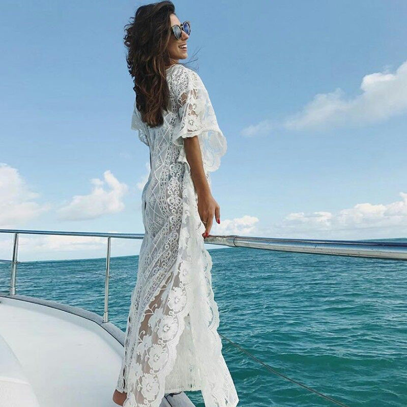 Women Tunic Cover-ups White Tunic Sexy Hollow Out O-Neck Beach Mini Dress Summer Women Beach Wear Swim Suit Cover Up Sarong