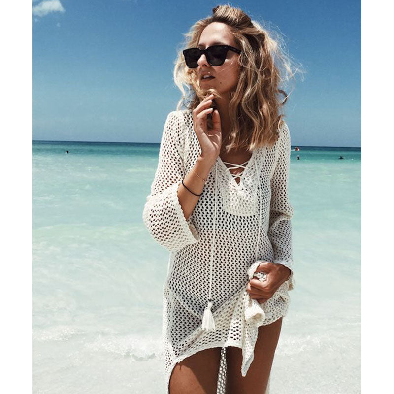 Women Beach Cover Up Bikini Crochet Knitted Tassel Tie Beachwear Summer Swimsuit Cover Up Sexy See-through Beach Dress