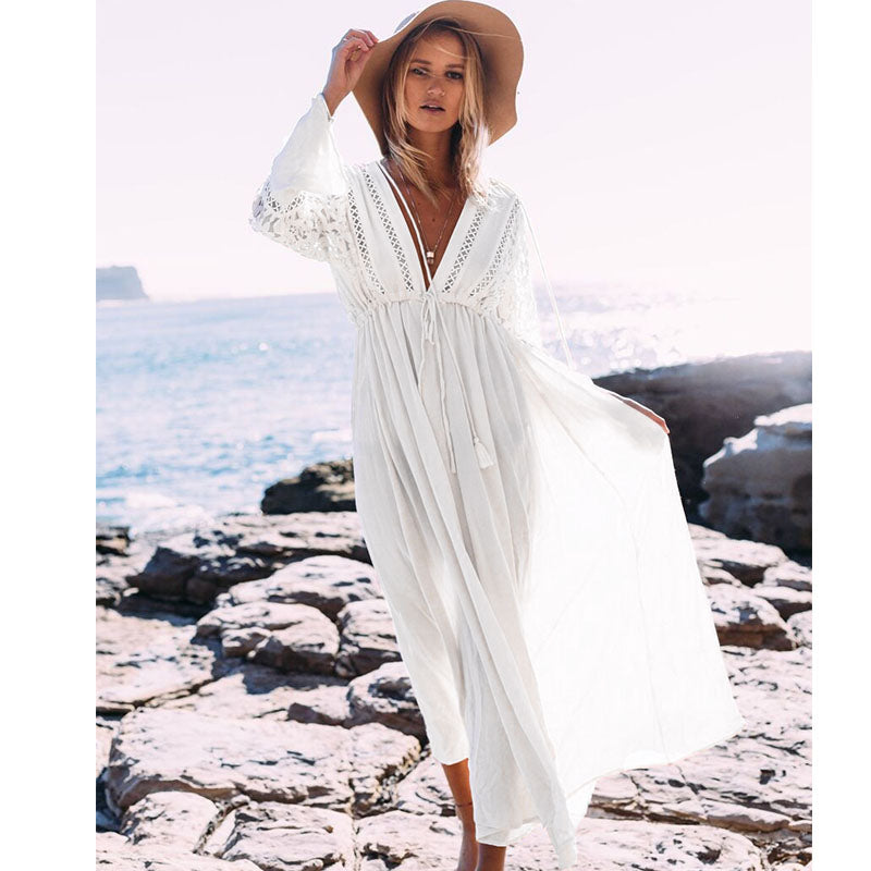 Sexy Beach Cover Up Swimsuit Women V Neck Hollow Out Beach Long Dress Bikini Swimwear Bathing Suit Summer Beach Tunic