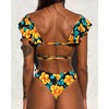 Women Off The Shoulder Print Ruffled Bikini Mujer New Sexy Swimwear Women Swimsuit Brazilian Bikini Set Thong Biquinis