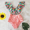 Sexy Bikinis Double Shoulder Ruffle Bikini Set High Waist Swimwear Women Swimsuit V-Neck Bathing Suit Beach Wear Swim