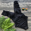 One Piece Swimsuit Solid Black Yellow V-Neck Swimsuit Women Swimwear Shoulder Ruffle Bathing Suits Beach Wear Monokini