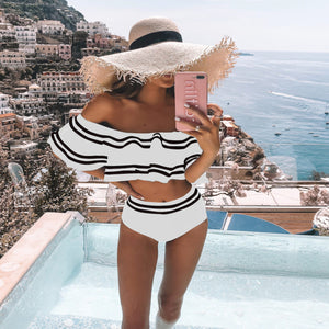 High Waist Bikini Set 2020 Sexy Off Shoulder Swimwear Women Swimsuit Ruffle Bathing Suit Beachwear Biquini
