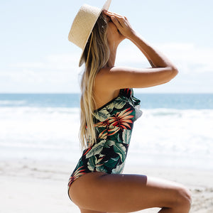 2020 Sexy Deep-V One Piece Swimsuit Female Women Vintage Retro Bathing Suit Shoulder Ruffle Swimwear Backless Monokini