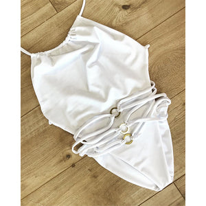 2020 Sexy Solid One Piece Swimsuit Criss Cross Swimwear Women Swimsuit Back High Cut Bathing Suits Beach Wear Monokini