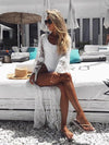 Women Elegant Cover-ups Sexy Deep V-Neck Summer Beach Dress White Lace Tunic Beachwear Swimsuit Cover Up Robe