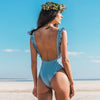 One Piece Swimsuit Sexy Cut Out Swimwear Women Bodysuit Bathing Suit Vintage Beach Wear Print Bandage Monokini