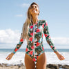 One Piece Swimsuit New Sexy Long Sleeve Swimwear Women Print Bathing Suit Beach Wear Back Cut Swimming Suits Monokini