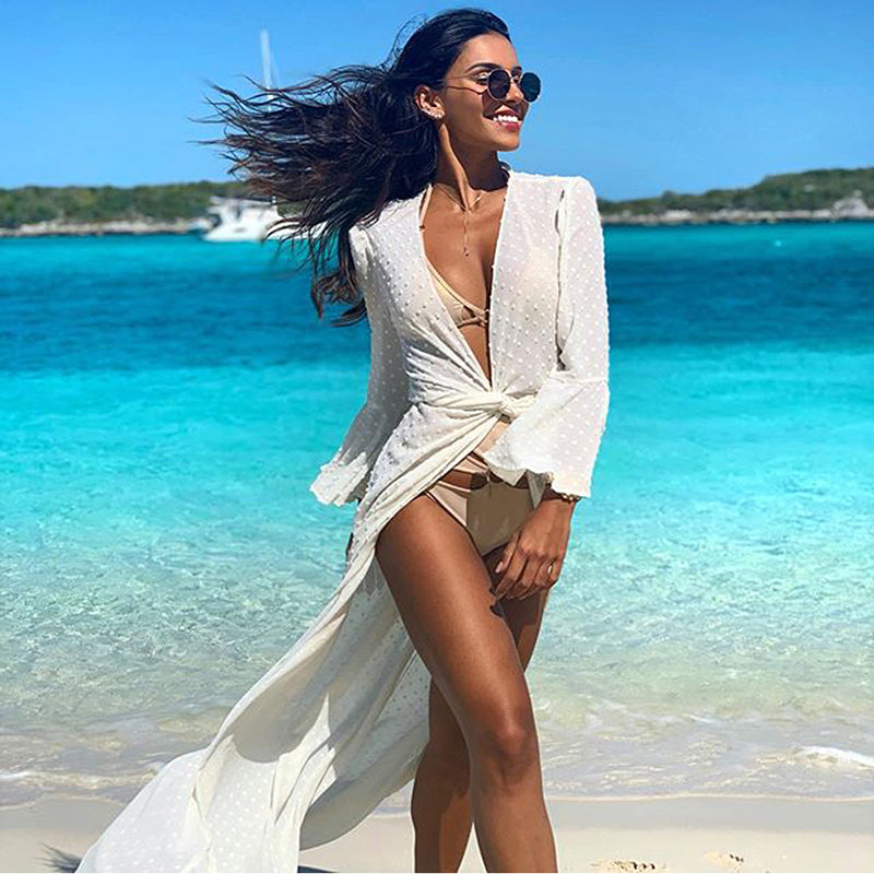 Women Bikini Cover-ups Cotton Tunic Beach Wear Swim Suit Cover Up Sexy Hollow Out Summer Bath Dress Robe