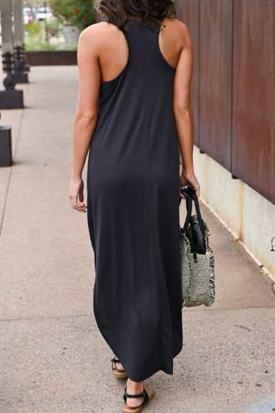 Suolory Casual Round Neck Backless Split Maxi Dress