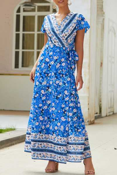 Trendylov Bohemian Floral Print Wrap Tie Side Maxi Dress