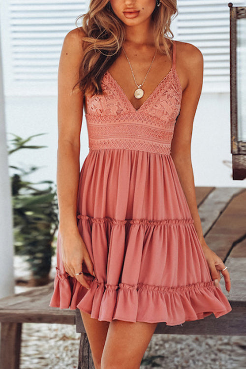 Suolory Bohemian Deep V-neck Lace Backless Mini Dress