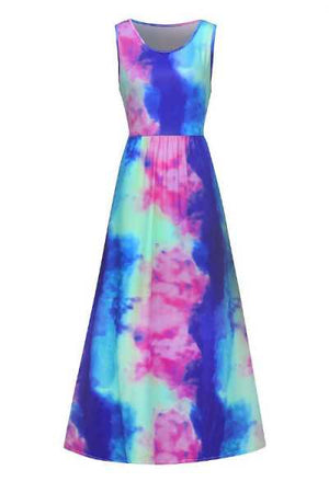 Trendylov Bohemian Sleeveless Tie Dye Print Maxi Dress (With Pocket)