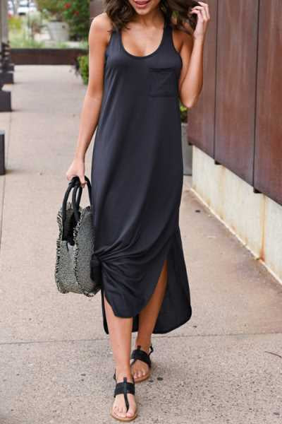Trendylov Casual Round Neck Backless Split Maxi Dress