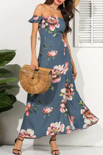Trendylov Bohemian Floral Print High Split Maxi Dress