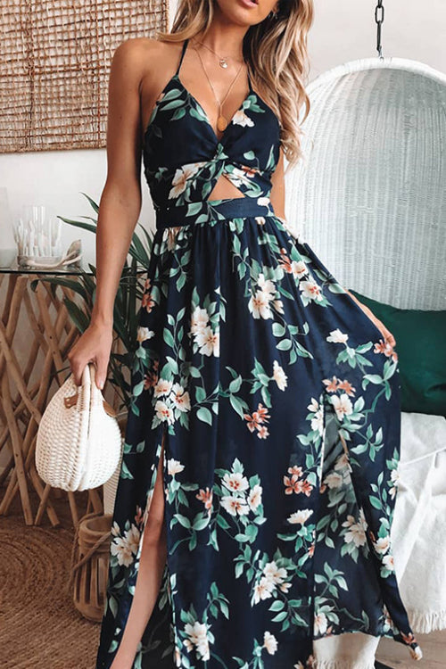 Suolory Bohemian Floral Print Halter Backless Maxi Dress