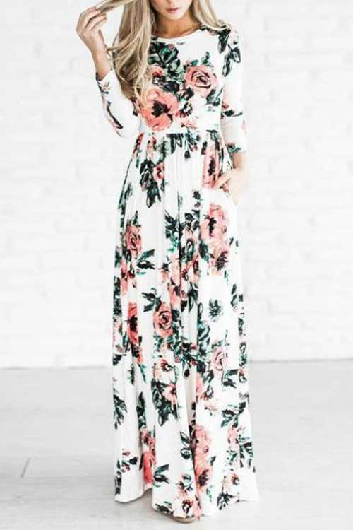 Trendylov Casual Long Sleeve Floral Print Mixi Dress