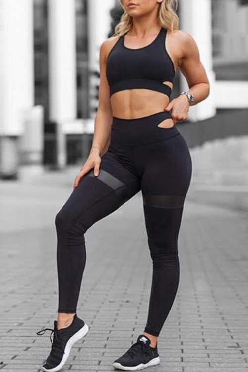 Suolory Sporty Sleeveless Backless Pants Sets