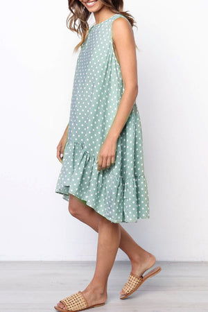Trendylov Sweet Polka Dot Print Flounce Trim Midi Dress