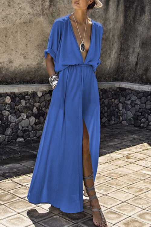 Trendylov Casual Deep V-neck Split Maxi Dress