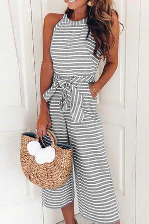 Trendylov Bohemian Sleeveless Striped Print Jumpsuit
