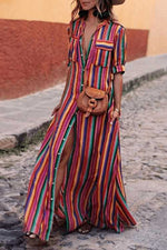 Suolory Casual Half Sleeve Striped Print Button Up Shirt Maxi Dress