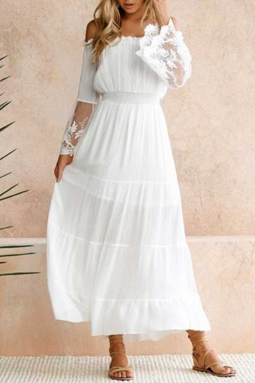 Suolory Bohemian Off The Shoulder Lace Patchwork Maxi Dress