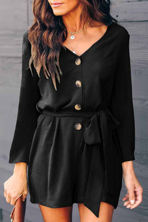 Trendylov Casual Long Sleeve Button Up Romper