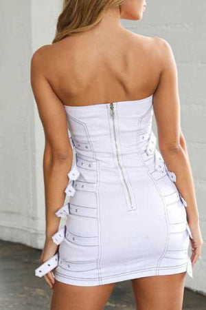 Trendylov Street Strapless White Mini Dress