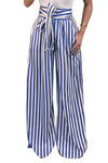 Trendylov Casual Loose Striped Print Lace-up Wide Leg Pants