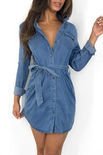 Trendylov Casual Long Sleeve Tie Design Denim Mini Dress