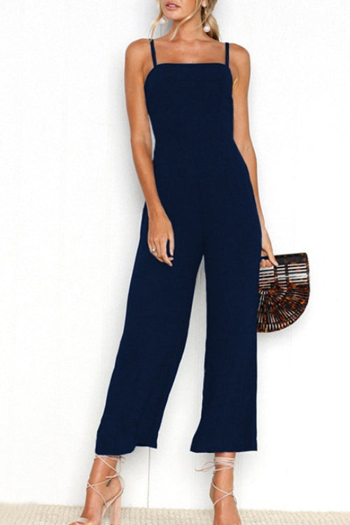 Trendylov Casual Spaghetti Strap Zip Up Jumpsuit
