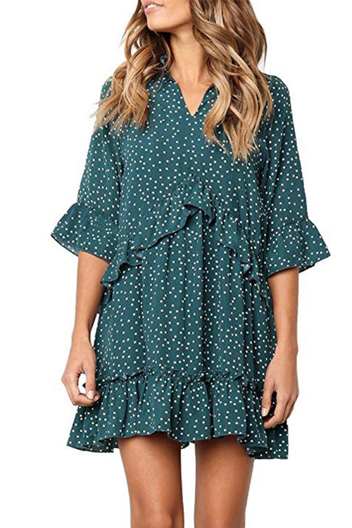 Trendylov Sweet Polka Dot Print Flounce Trim Mini Dress