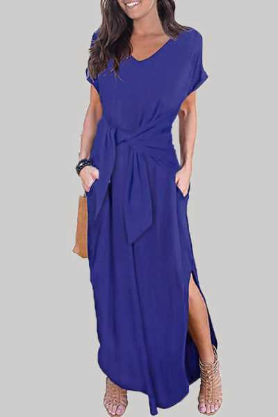 Trendylov Casual V-neck Tie Design Split Maxi Dress
