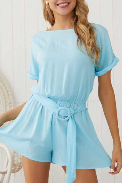 Suolory Casual O-neck Solid Color Romper (With Belt)