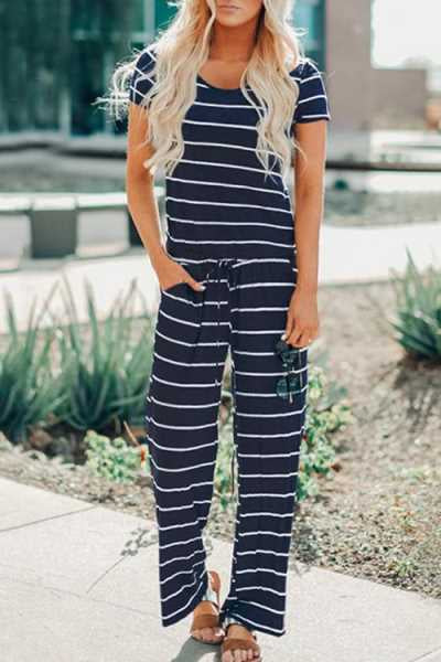 Trendylov Casual Striped Print Jumpsuit