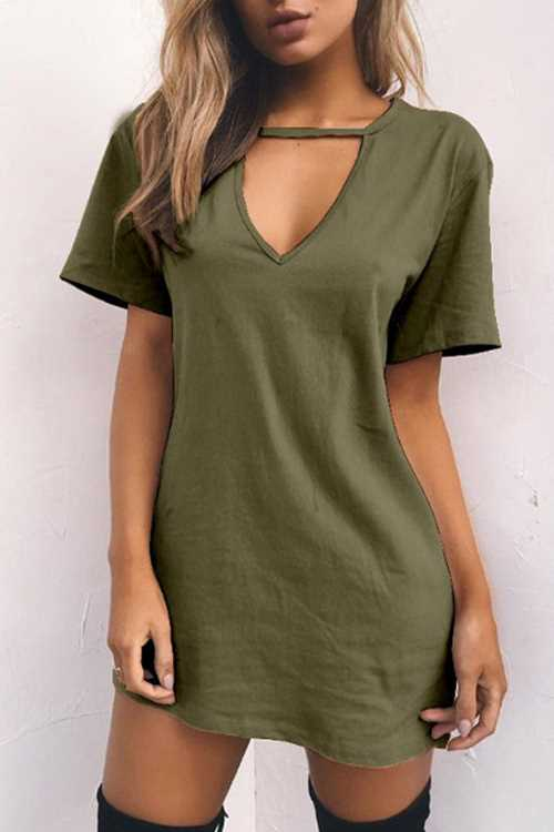 Trendylov Street V-neck Hollow Shirt Mini Dress
