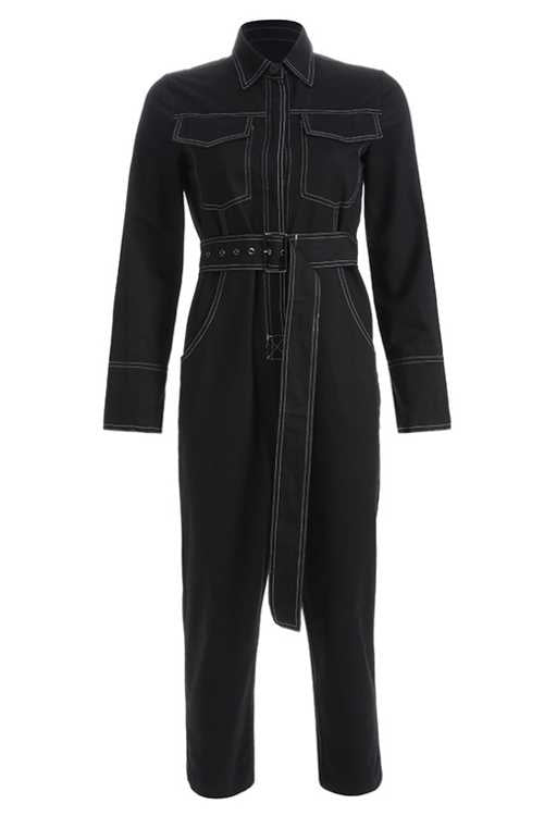 Suolory Casual Frock Style Botton Up Jumpsuit (With Belt)