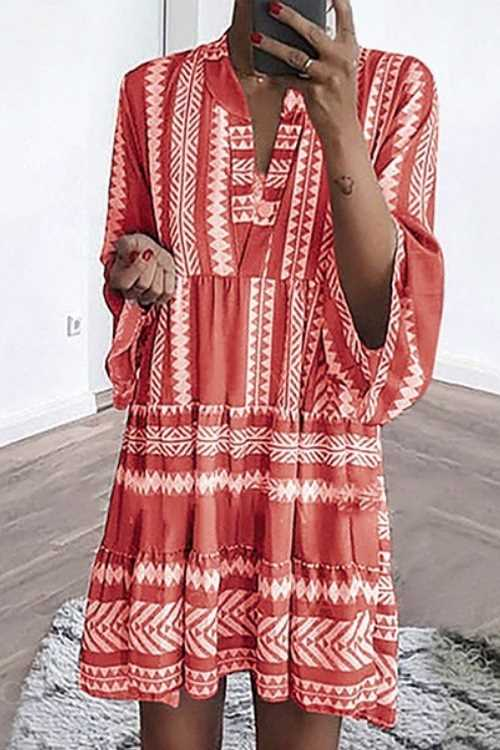 Suolory Bohemian Loose Geometric Print Mini Dress