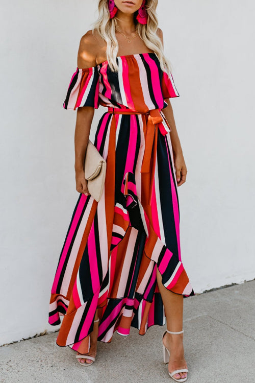Suolory Bohemian Off The Shoulder Striped Print Flounce Trim Maxi Dress