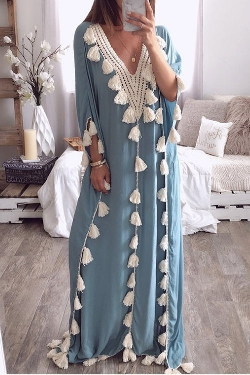Suolory Bohemian Loose Deep V-neck Lace Trim Maxi Dress